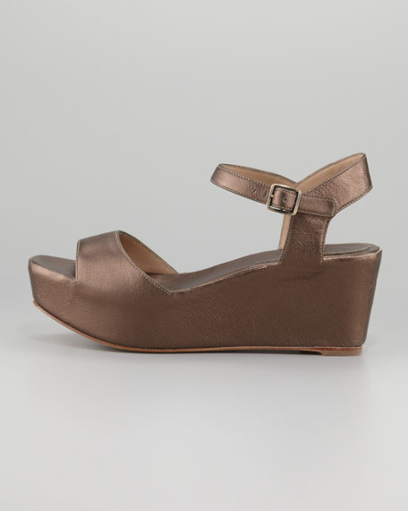 Metallic Leather Wedge Sandal