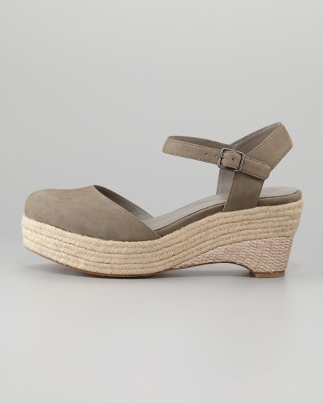 Buffed Leather Espadrille Sandal