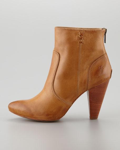 Regina Mid-Heel Leather Boot, Camel