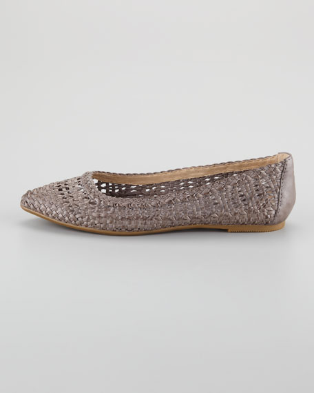 Regina Woven Leather Skimmer Flat, Gray