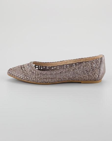 Regina Woven Leather Skimmer Flat, Gray