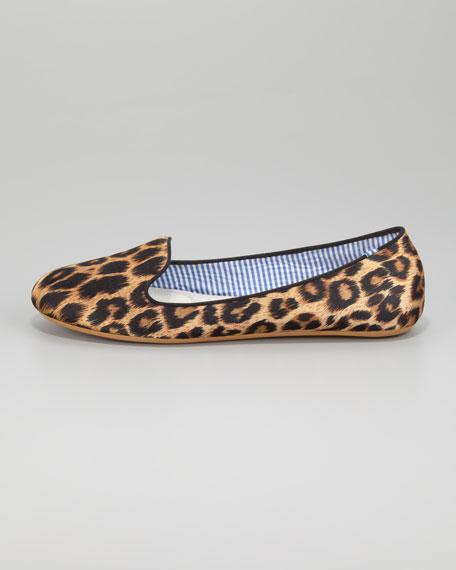 Sheila Leopard-Print Satin Smoking Slipper