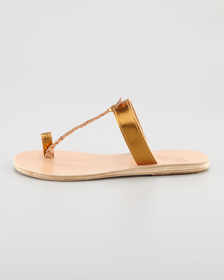 Melpomeni Toe-Ring Braided Flat Sandal, Copper