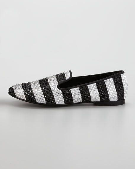 Stripe Strass Smoking Loafer