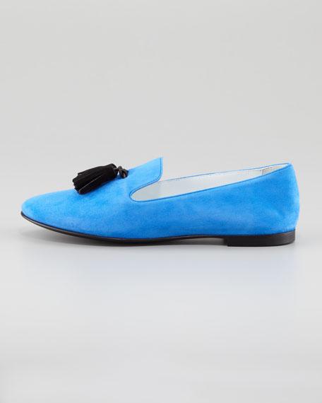 Tasseled Suede Smoking Loafer, Blue