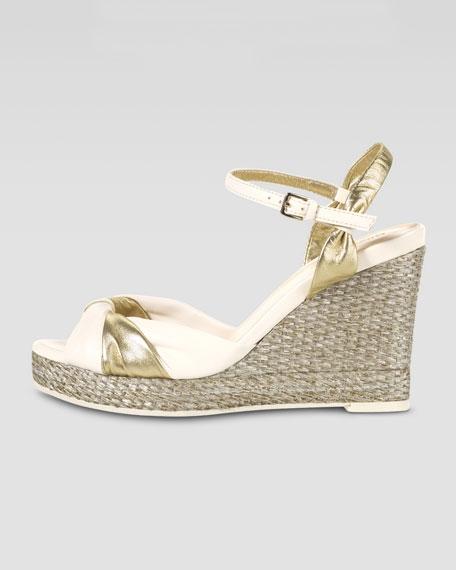 Cascadia High-Heel Wedge Sandal, Platino/Ivory