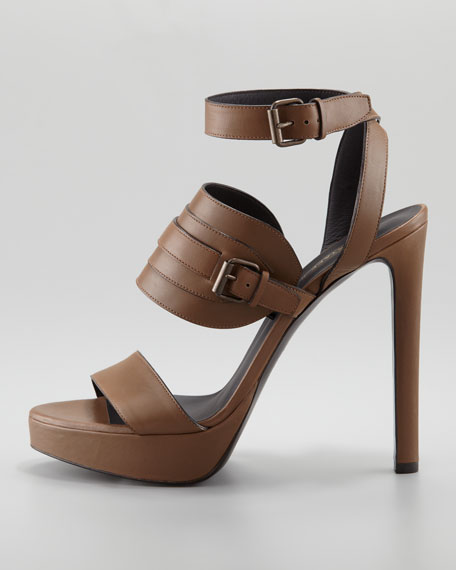 Ankle-Wrap Leather Sandal, Tan
