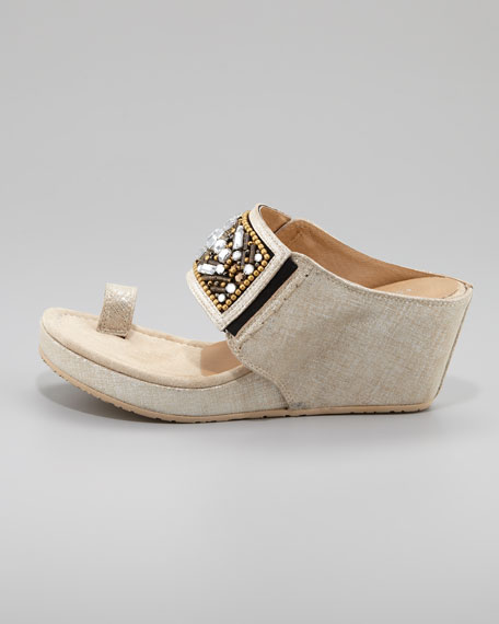 Gilett Toe-Ring Jewel-Detail Wedge Sandal, Taupe/Silver