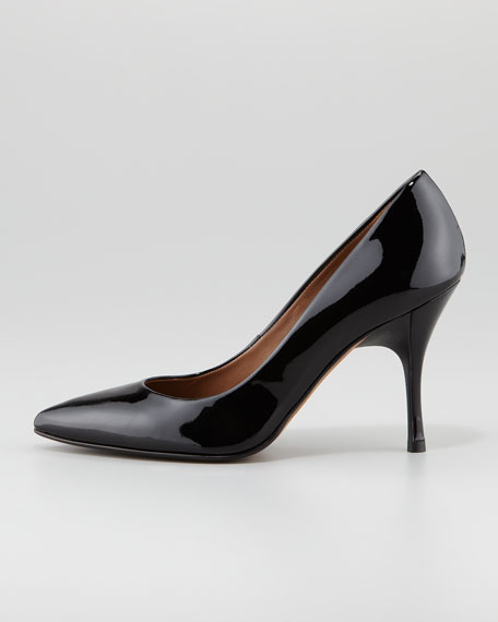Brave Patent Leather Pointed-Toe Pump, Black