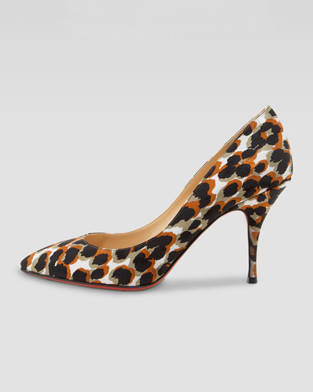 Piou Piou Leopard-Print Point-Toe Red Sole Pump