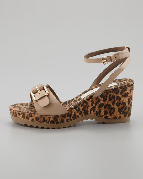 Animal-Print Cork Ankle-Wrap Wedge, Desert