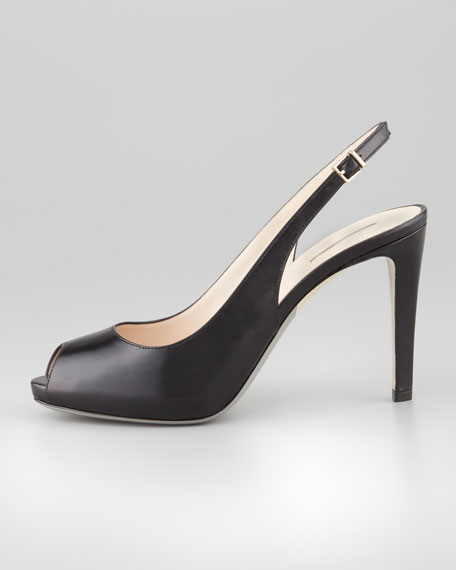 Peep-Toe Slingback Pump, Black