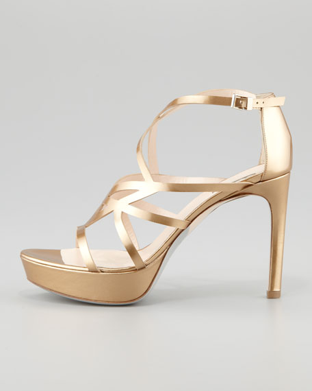 Matte Metallic Strappy Platform Sandal, Gold
