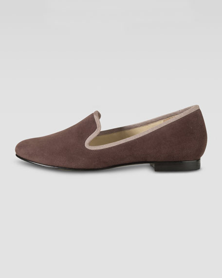 Sabrina Suede Smoking Slipper, Chestnut/Maple