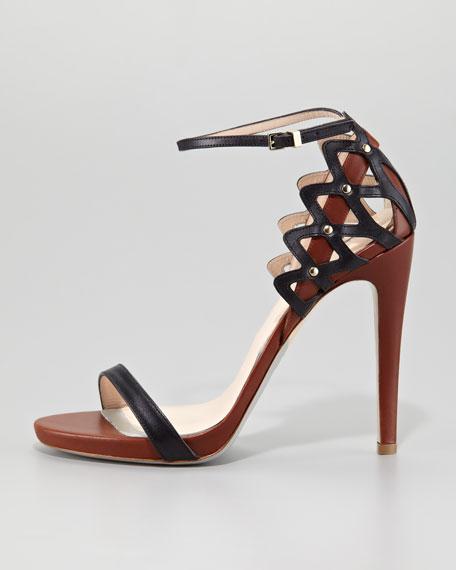Cutout-Heel Sandal, Black/Tan