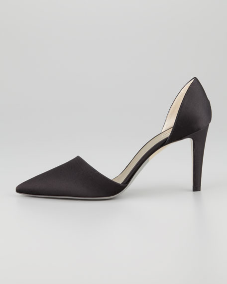 Satin Asymmetric d'Orsay Pump, Black