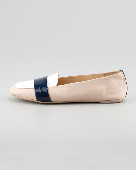 Colorblock Napa Leather Driver, Nude/White/Navy