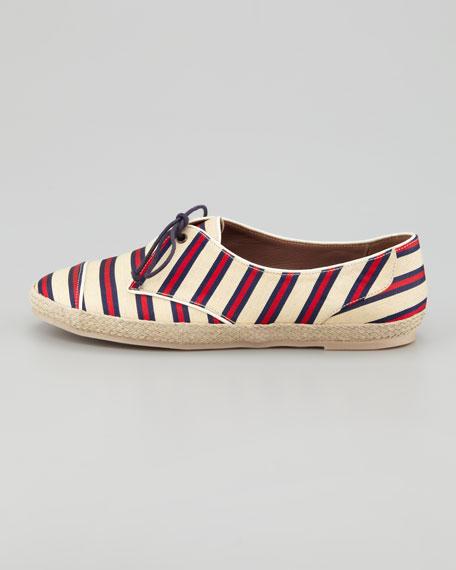 Tie-Striped Flat Espadrille Sneaker, Red/Navy
