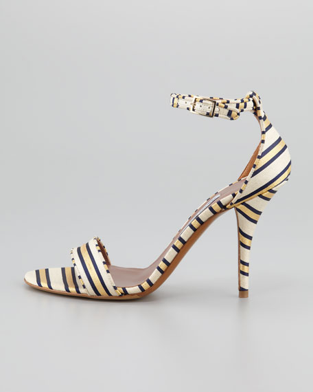 Popy Necktie-Striped Sandal, Gold/Navy