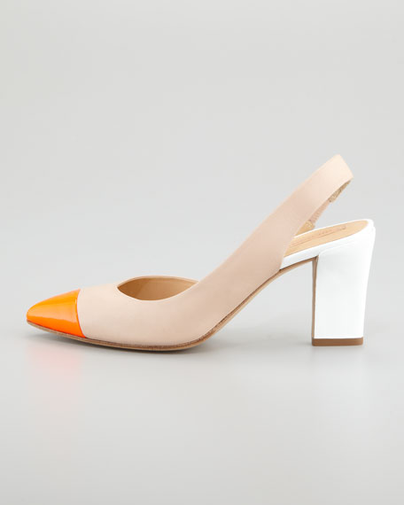 Colorblock Cap-Toe Slingback Pump