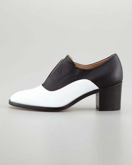 Patent/Napa Leather High-Heel Oxford, White/Black
