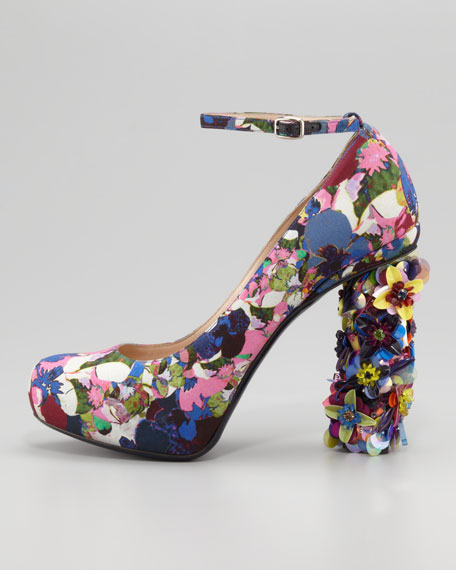 Floral-Print Jeweled-Heel Pump