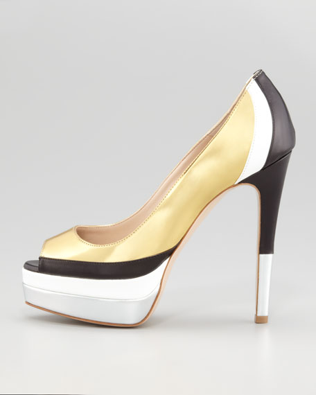 Golf Colorblock Metallic Leather Pump