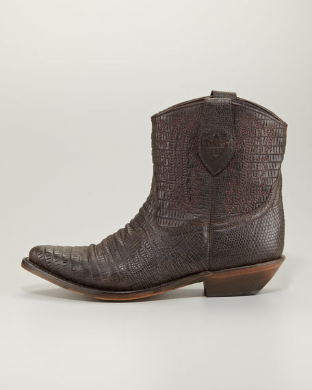 Destiny Lizard-Embossed Cowboy Ankle Boot