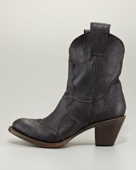 Leon Cowboy Ankle Boot, Black