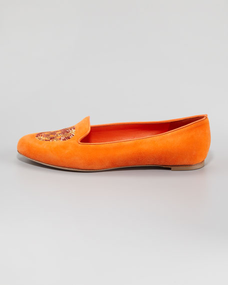 Skull-Vamp Suede Belgian Loafer, Orange