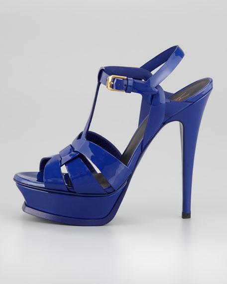 Tribute Patent Leather Sandal, Blue
