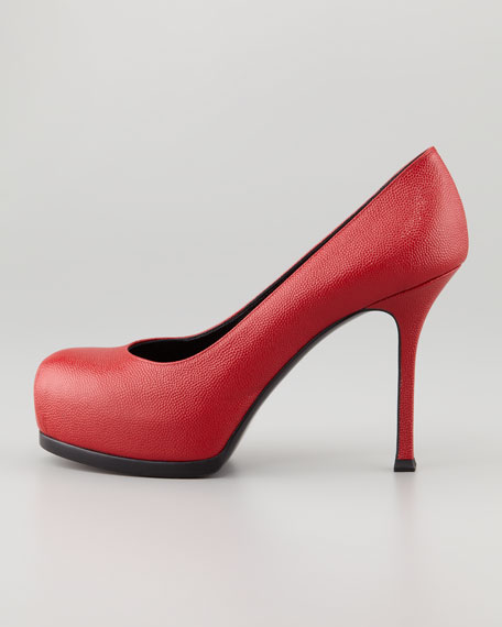 Tribute Two Textured Platform Pump, Red