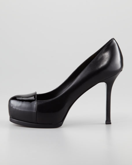 Tribute Two Patent-Capped Leather Platform Pump, Black