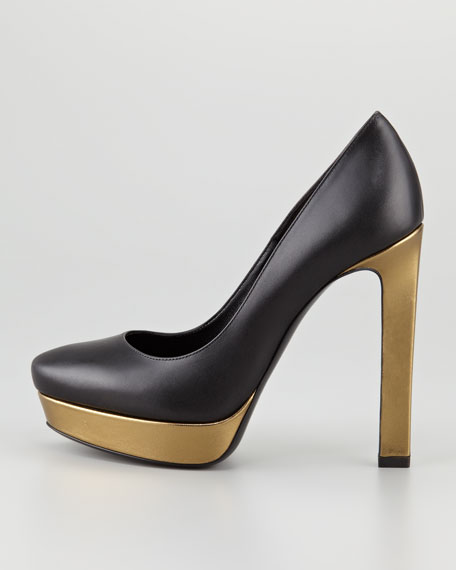 Metallic Platform Pump, Black
