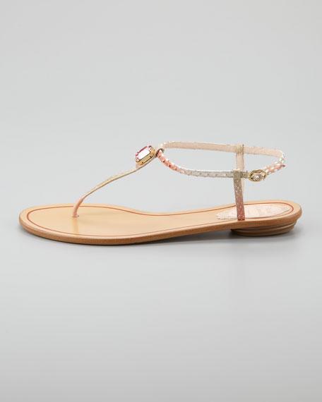 Crystal Python Thong Sandal, Rose