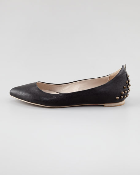 Studded Leather Ballerina Flat