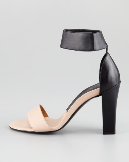 Ankle-Wrap Open-Toe Sandal, Nude/Black