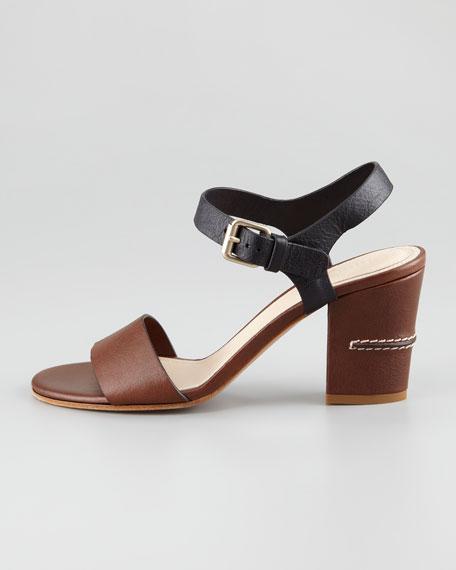 Two-Tone Open-Toe Sandal, Brown/Black