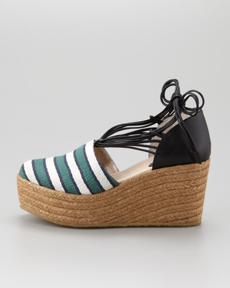 Striped Canvas Espadrille Wedge, Green/Black