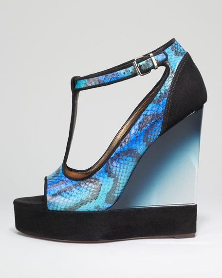 Snake T-Strap Lucite-Wedge Sandal