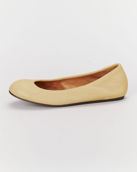 Scrunched Leather Ballerina Flat, Skin