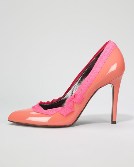 Grosgrain-Trim Patent Leather Pump