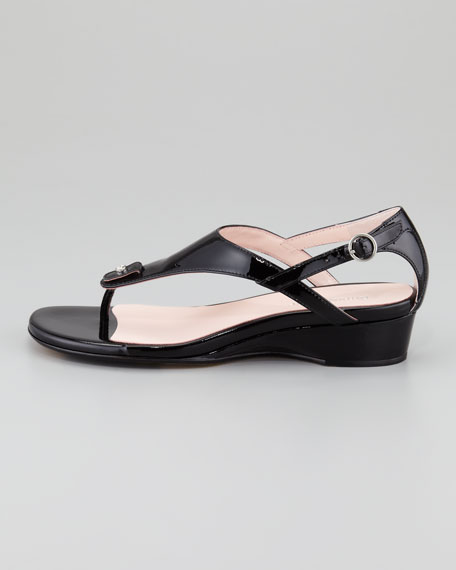 Kat Patent Low-Wedge Thong Sandal, Black