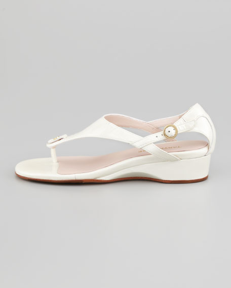 Kat Patent Low-Wedge Thong Sandal, White