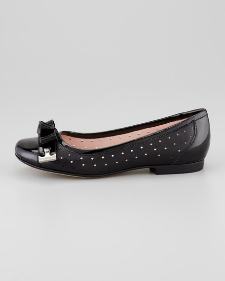 Buzz Perforated Bow-Toe Ballerina Flat, Black