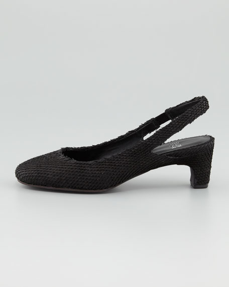 Round-Toe Slingback Pump, Black