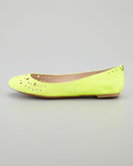 Leighton Snake-Print Leather Skimmer, Lime