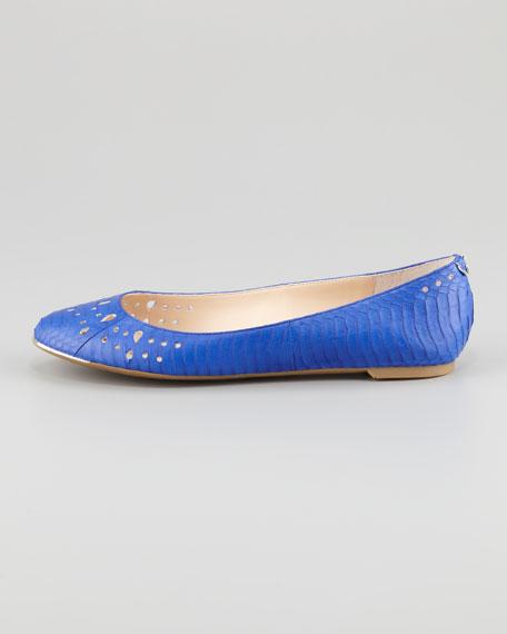 Leighton Snake-Print Ballerina Flat, Indigo Blue