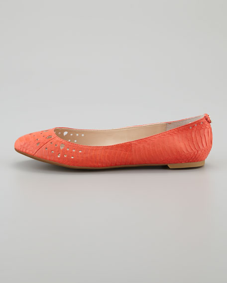 Leighton Snake-Print Leather , Mandarin