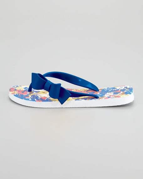 Printed Bow Flip Flop, Blue